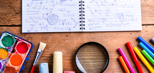 Image of math notebook and creative tools