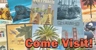image of travel postcards with come visit text